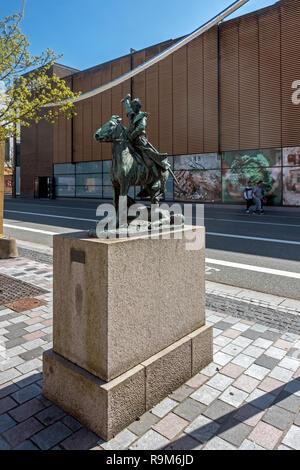 Statue of En rasende Kosak by  Carl Johan Bonnesen on Gabels Torv Nytorv in the centre of Aalborg Jutland Denmark Europe - Stock Image