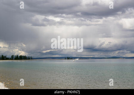 Dark clouds hanging above Lake Khovsgol, Mongolia. - Stock Image