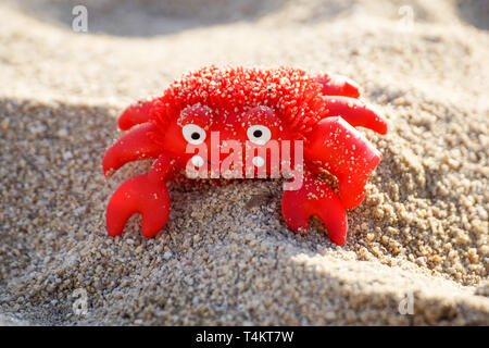 Colourful red crab toy on a beach - Stock Image
