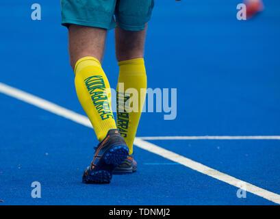 Krefeld, Germany, June 16 2019, hockey, men, FIH Pro League, Germany vs. Australia:  (Australia) player of (Australia) Kookaburras warms up. - Stock Image