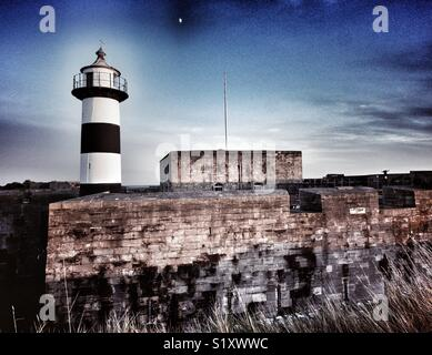 Southsea Castle with moon, Portsmouth, Hampshire, England, UK - Stock Image