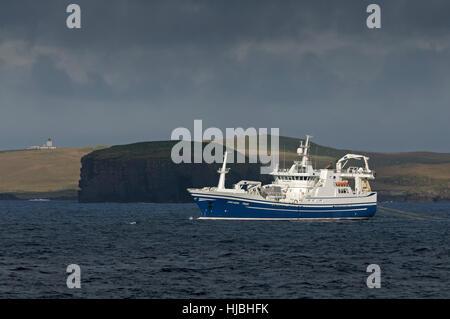 "Fraserburgh pelagic trawler ""Chris Andra"" fishing for mackerel by Eshaness on the west coast of Shetland. October - Stock Image"