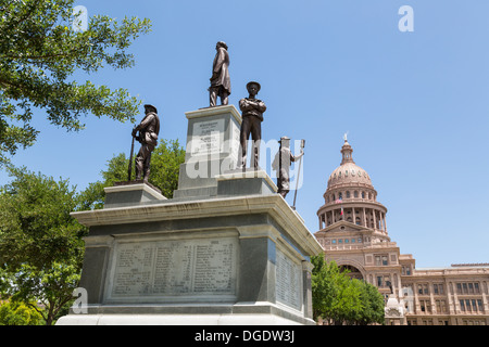 Texas State Capitol building and confederate soldiers monument Austin USA - Stock Image