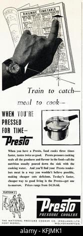 1950s old vintage original advert british magazine print advertisement advertising Presto pressure cookers of Wolverhampton - Stock Image
