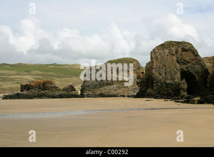 Cliffs and Beach at Perranporth Beach, North Cornwall Coast, Britain, UK. - Stock Image
