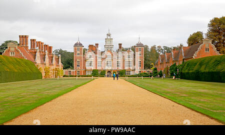 A view of the main entrance to Blickling Hall from the B1354 road near Aylsham, Norfolk, England, United Kingdom, Europe. - Stock Image