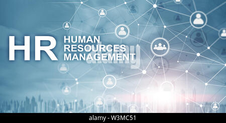 Double exposure people network structure HR - Human resources management and recruitment concept - Stock Image