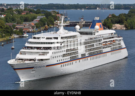 5*+ Cruise Ship Europa westbound in the Kiel-Canal. - Stock Image