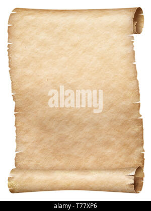 Ancient worn parchment or old papyrus scroll isolated - Stock Image