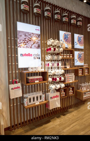 A wall inside the new NUTELLA CAFE on University Place near Union Square Park in lower Manhattan, New York City. - Stock Image