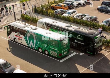 sports, football, Bundesliga, 2018/2019, Borussia Moenchengladbach vs SV Werder Bremen 1-1, Stadium Borussia Park, team busses Bremen and Gladbach, DFL REGULATIONS PROHIBIT ANY USE OF PHOTOGRAPHS AS IMAGE SEQUENCES AND/OR QUASI-VIDEO - Stock Image
