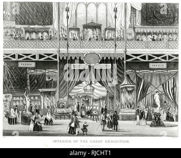 Interior of The Great Exhibition, showing Egypt, Turkey and Greece departments - Stock Image