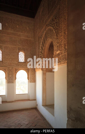 Typical decorative Moorish Architecture windows in the Mexuar Room of the Alhambra Palace in Spain - Stock Image