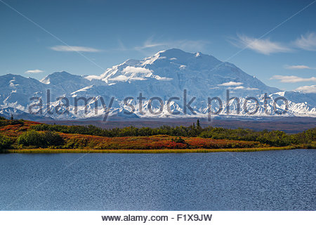 Alaska : Denali (also known as Mount McKinley) seen from Reflection Pond in Denali national Park - Stock Image