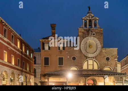 Campo S. Giacomo di Rialto church , Campo San Giacomo di Rialto, San Polo, Venice, Venezia, Italy - Stock Image