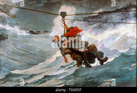 Winslow Homer, The Life Line, painting, 1884 - Stock Image