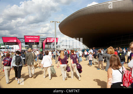 People leaving at Stratford Gate entrance at Olympic Park, London 2012 Olympic Games site, Stratford London E20 - Stock Image