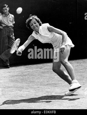 Jun 24, 1952 - London, England, UK - (File Photo) British tennis player LORNA CORNELL plays with a bandaged elbow in singles competition at Wimbledon. - Stock Image