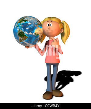 girl with globe comic style illustration - Stock Image