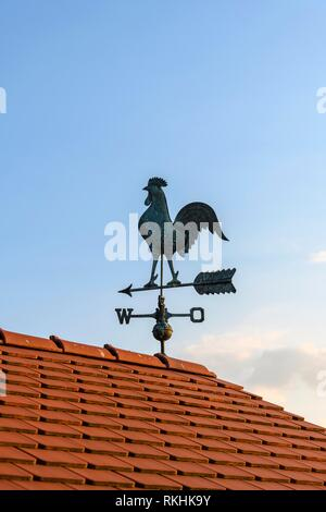 House roof with weather vane with weather vane, Baden-Württemberg, Germany - Stock Image