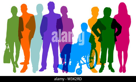 Colorful monochrome silhouettes of many different people as population and business teamwork concept - Stock Image
