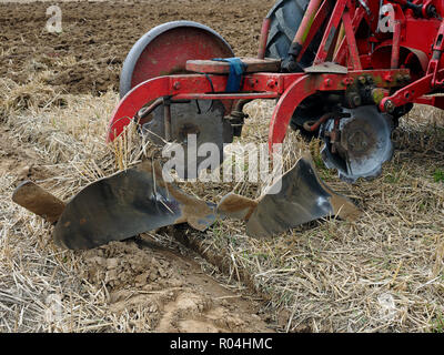 Massey-Ferguson two furrow plough from the 1960's. - Stock Image