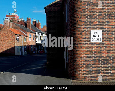 Sign - No Ball Games - on street, England UK - Stock Image