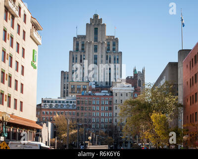 MONTREAL, CANADA - NOVEMBER 4, 2018: Aldred Building (aka La Prevoyance building) seen from the bottom in Old Montreal, Quebec. It is one of the main  - Stock Image