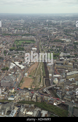 Aerial view of a brownfield site where Bishopsgate Railway Station in London stood. It was also called Bishopsgate Goods Station - Stock Image