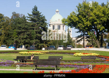 Dome of the National Parliament of Serbia seen from Srpskih Vladara street in Belgrade, Serbia. - Stock Image