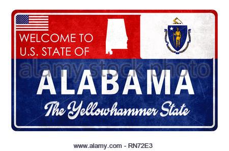 Welcome to Alabama - grunde sign - Stock Image