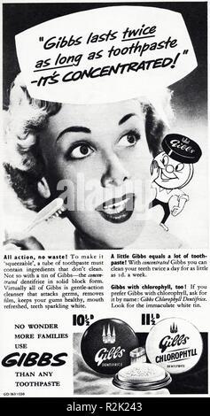 Original 1950s vintage old print advertisement from English magazine advertising Gibbs toothpaste circa 1954 - Stock Image