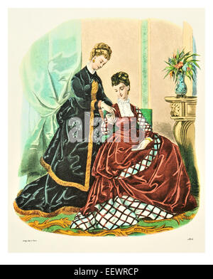 La Mode Illustree 1874 Victorian era period costume fashion dress gown gowns skirt veil cuff frills muslin cap embroidery - Stock Image