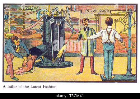 IN THE YEAR 2000  Series of French illustrations published between 1899 and 1910 showing imaginary technological advances. The latest fashions for men automatically produced. - Stock Image
