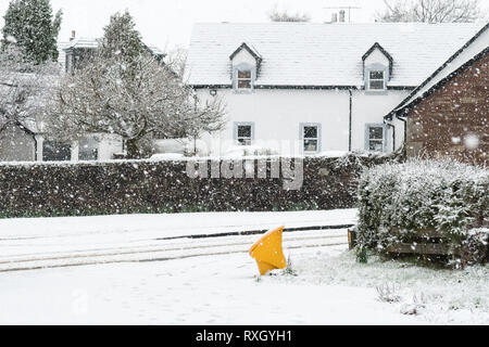 Killearn, Stirlingshire, Scotland, UK - 10 March 2019: UK weather - A grit box stands out in the whiteness as snow falls in the Stirlingshire village of Killearn. Credit: Kay Roxby/Alamy Live News - Stock Image