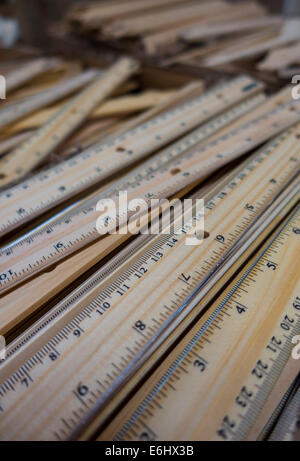 box of wood student rulers - Stock Image