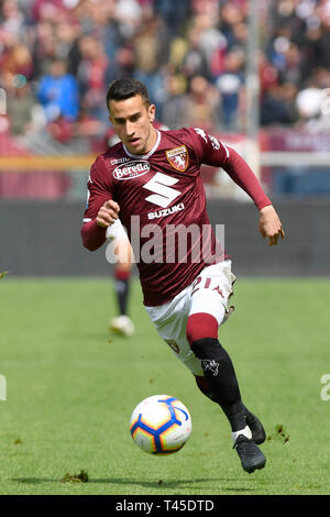 Turin, Italy. 14th Apr, 2019.  Serie A football, Torino versus Cagliari; Alex Berenguer of Torino FC on the ball Credit: Action Plus Sports Images/Alamy Live News - Stock Image