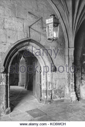 Doorway by the entrance to the Great Cloisters at Westminster Abbey, London, UK  –  1967 - Stock Image