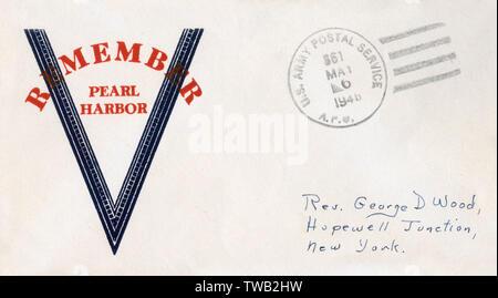 WW2 - Remember Pearl Harbour - Patriotic envelope     Date: circa 1942 - Stock Image