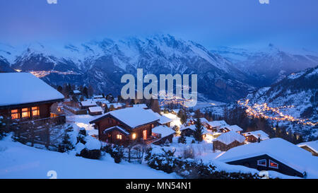 La Tzoumaz in winter at dusk, Valais, Switzerland - Stock Image