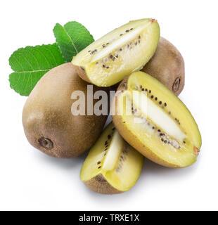 Golden kiwi fruits or Chinese gooseberries isolated on white background. - Stock Image