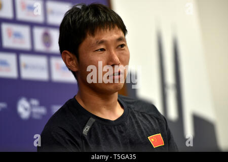 Kuala Lumpur. 24th Apr, 2019. Chinese team captain Du Chen attends the press conference ahead of the FIH Men's Series Finals Kuala Lumpur 2019 match in Kuala Lumpur, April 24, 2019. Credit: Chong Voon Chung/Xinhua/Alamy Live News - Stock Image