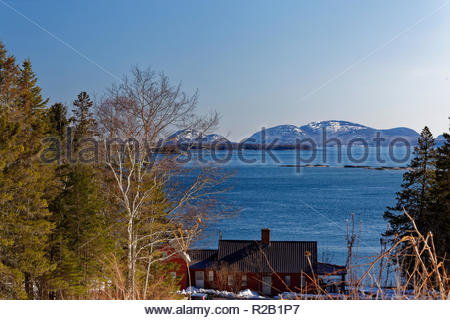 View from Route 1 in Hancock, Maine, USA - Stock Image