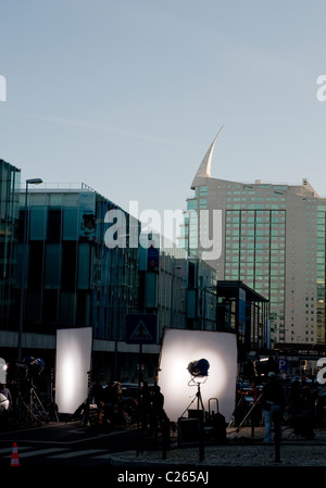 A film production unit at Parque das Nações in Lisbon. The area is often used as backdrop for television - Stock Image