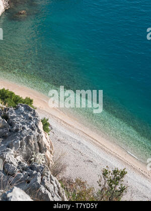 Famous beach Nugal on Makarska riviera in Croatia on sunny day - Stock Image