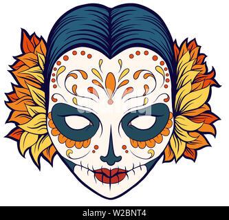 calavera skull mexican  woman festival celebration dead day halloween illustration - Stock Image
