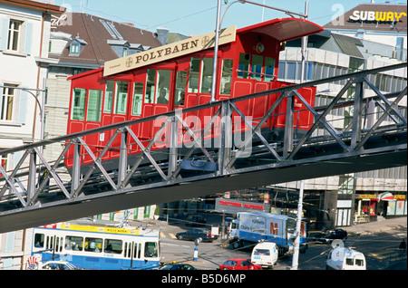 Polybahn, funicular railway, Zurich, Switzerland, Europe - Stock Image