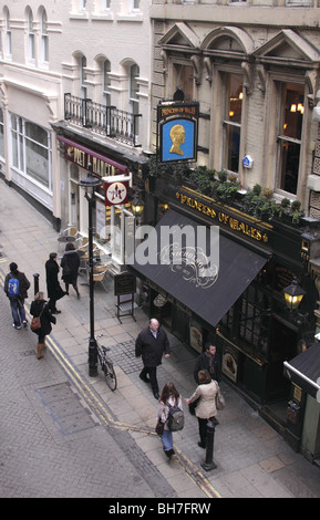 Aerial view of Villiers Street and Princess of Wales pub London January 2010 - Stock Image
