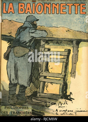 Front cover design for La Baionnette, Philosophers of the Trenches. Showing a solitary French soldier gazing across an empty battlefield on the Western Front. - Stock Image