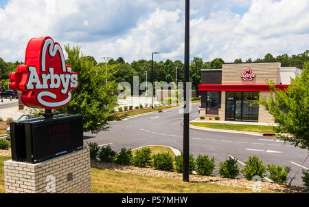 HICKORY, NC, USA-22 JUNE 18:  Arby's is an American fast-food sandwich restaurant chain of more than 3300 stores. - Stock Image